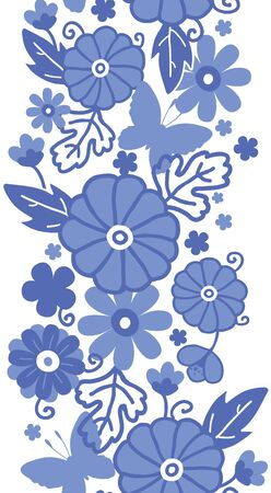 dutch: Delft blue Dutch flowers vertical seamless pattern border raster