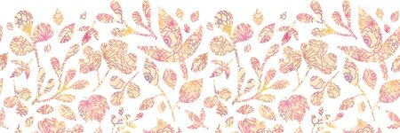 Textured pastel Leaves Horizontal Seamless Background Raster photo