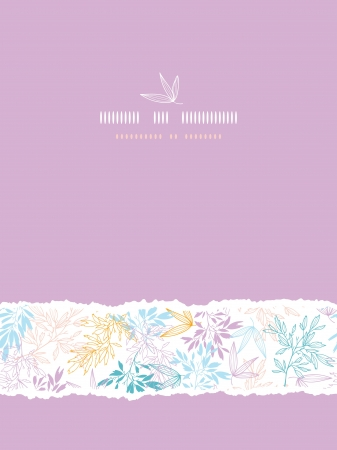 Colorful pastel branches vertical torn seamless background Vector