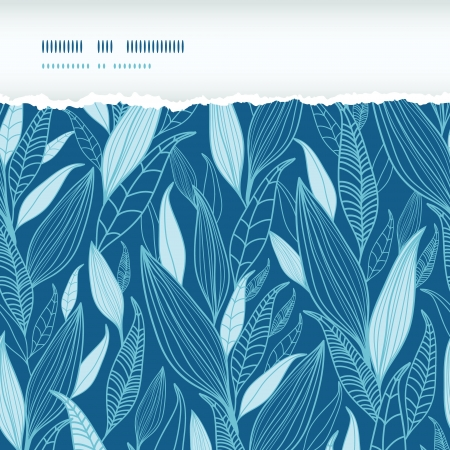 Blue Bamboo Leaves Horizontal Torn Seamless Pattern Background Vector