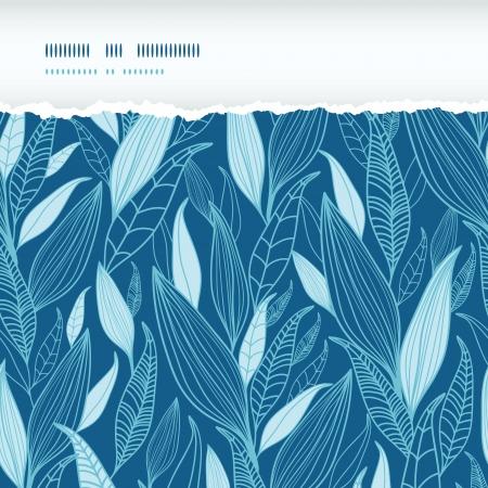 Blue Bamboo Leaves Horizontal Torn Seamless Pattern Background Иллюстрация