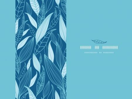 Blue Bamboo Leaves Horizontal Seamless Pattern Background Vettoriali
