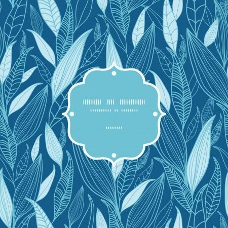 Blue Bamboo Leaves Frame Seamless Pattern Background Vettoriali