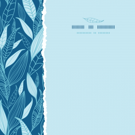 Blue Bamboo Leaves Square Torn Seamless Pattern Background Vector