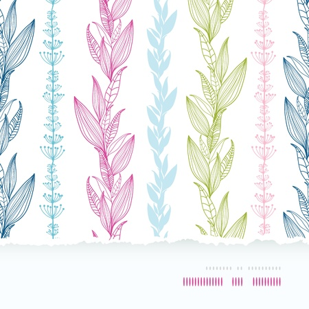 Floral stripes vertical horizontal torn seamless pattern background  イラスト・ベクター素材