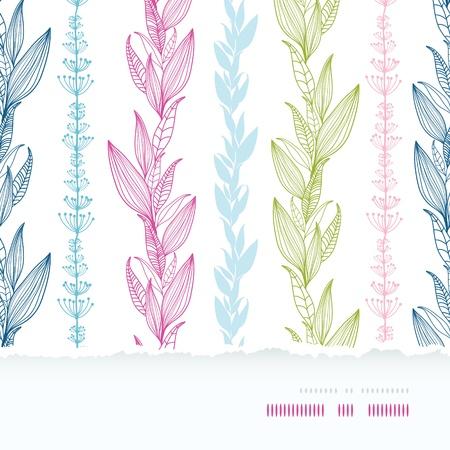 Floral stripes vertical horizontal torn seamless pattern background Illustration