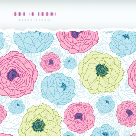 Lovely flowers horizontal torn seamless pattern background Stock Vector - 18198767