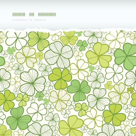 Clover line art horizontal torn seamless pattern background Vector
