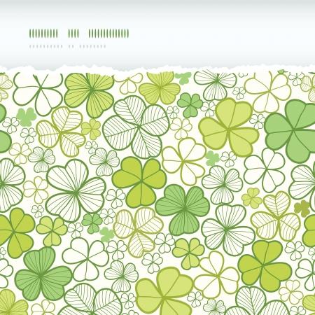 Clover line art horizontal torn seamless pattern background Stock Vector - 18246610