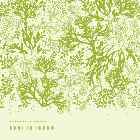 Green underwater seaweed horizontal seamless pattern background Vector