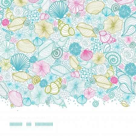 Seashells lijntekeningen horizontale naadloze patroon achtergrond Stock Illustratie