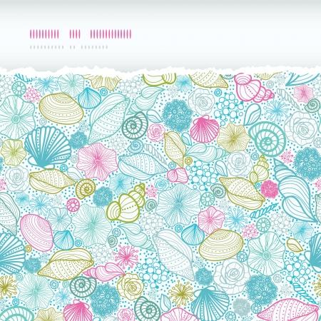 Seashells line art horizontal torn seamless pattern background