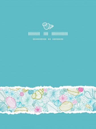 sea green: Seashells line art vertical torn seamless pattern background