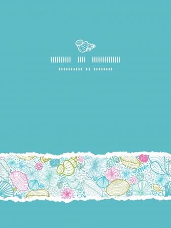 sea line: Seashells line art vertical torn seamless pattern background