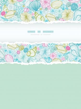 nautilus shell: Seashells line art vertical torn frame seamless pattern background Illustration