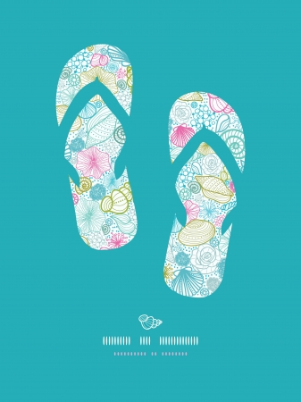 Seashells line art flip flops decor pattern background Vector