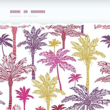 Palm trees seamless horizontal torn pattern background Vector