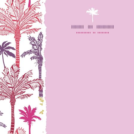 Palm trees seamless square torn pattern background Vector