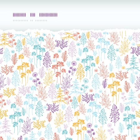 Colorful flowers and plants horizontal torn seamless pattern background