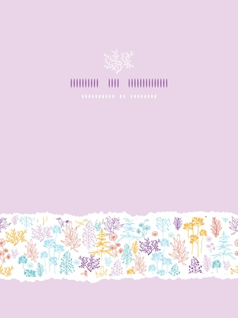 Colorful flowers and plants vertical torn seamless pattern background Vector