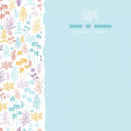 spring: Colorful flowers and plants square torn seamless pattern background Illustration