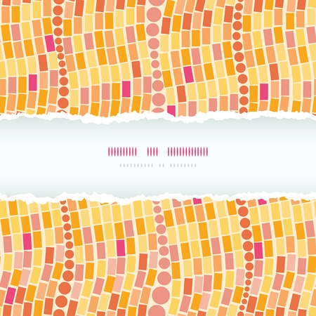 burning paper: Fire mosaic tiles seamless horizontal torn frame pattern background Illustration
