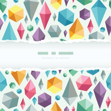 hanging geometric shapes horizontal torn frame seamless pattern background Vector