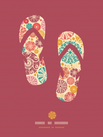 flip flops: Abstract decorative circles flip flops pattern background Illustration