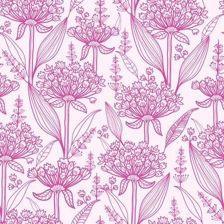 lineart: Pink lillies lineart seamless pattern background
