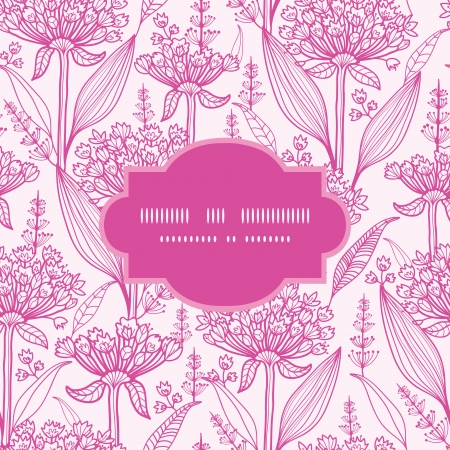 lineart: Pink lillies lineart frame seamless pattern background