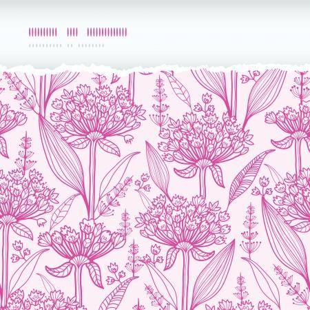 lineart: Pink lillies lineart horizontal torn seamless pattern background