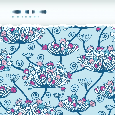 Spring Flowers Seamless Horizontal Torn Pattern Background Vector