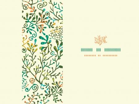 Textured Plants Horizontal Seamless Pattern Background