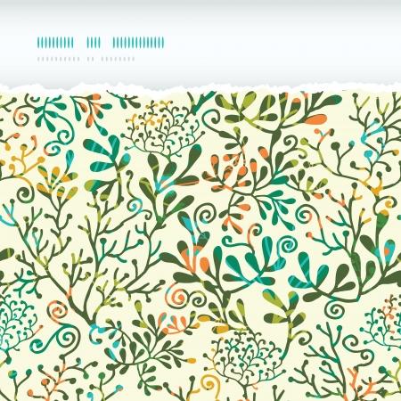 Textured Plants Horizontal Torn Seamless Pattern Background Vettoriali