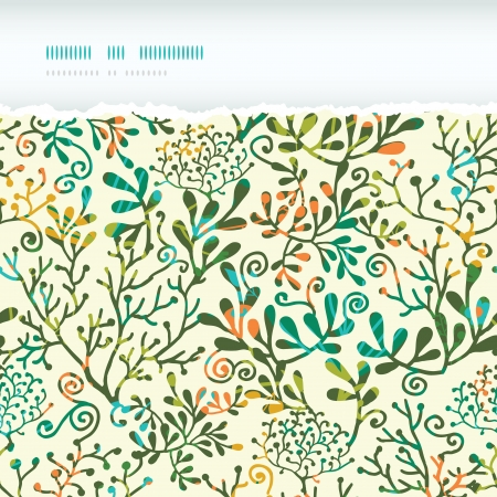 Textured Plants Horizontal Torn Seamless Pattern Background Illustration