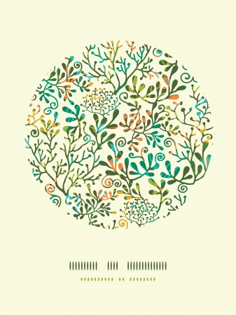Textured Plants Circle Decor Pattern Background Vector