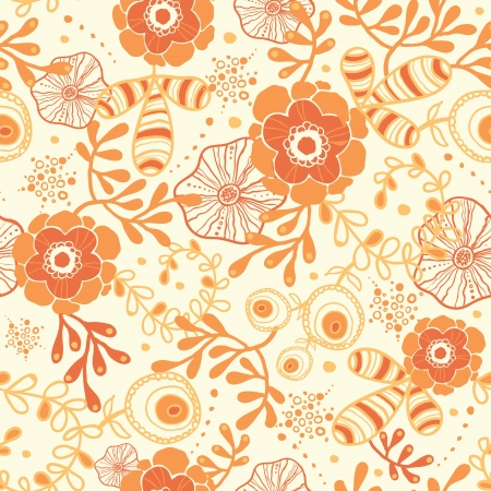 Golden florals seamless pattern background Vector