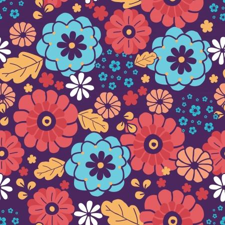 Colorful bouquet flowers seamless pattern background Vector