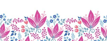 horizontal: Pink flowers horizontal seamless pattern background border Illustration