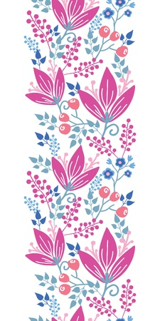 Pink flowers vertical seamless pattern background border Vector