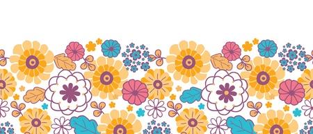 horizontal: Colorful oriental flowers horizontal seamless pattern background