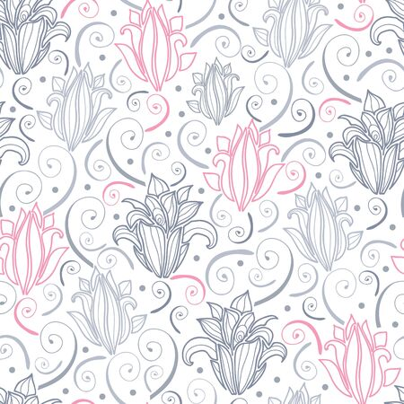 Gray and pink lily lineart seamless pattern background Vector