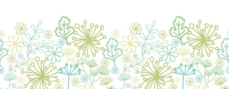 Mysterious green garden horizontal seamless pattern background border Vector