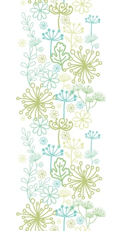 vertical garden: Mysterious green garden vertical seamless pattern background border Illustration