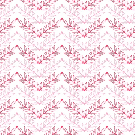 chevron seamless: Pink lineart leaves chevron seamless pattern background
