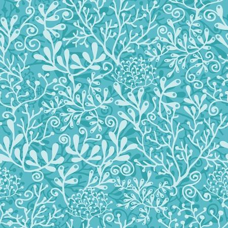 Underwater plants seamless pattern background Иллюстрация