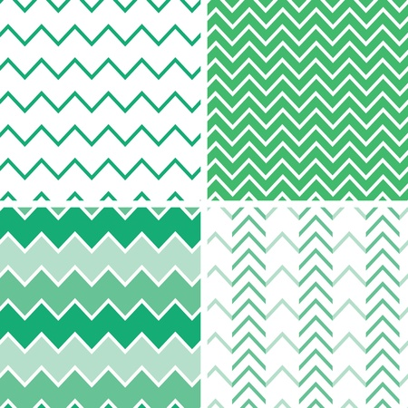 Set of four emerald green chevron patterns and backgrounds Vector