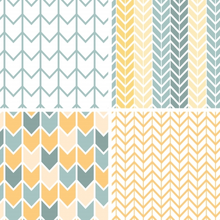 chevron seamless: Set of four gray yellow chevron patterns and backgrounds
