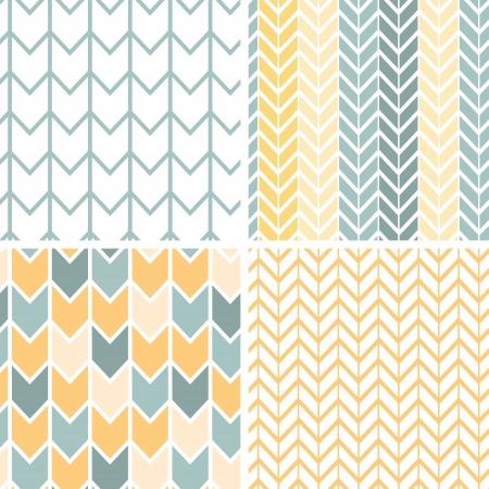 Set van vier grijze gele chevron patronen en achtergronden