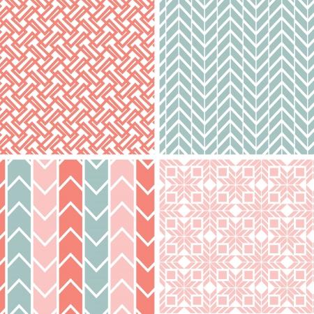 Set van vier grijze roze geometrische patronen en achtergronden Stock Illustratie